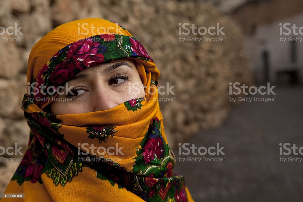 Woman In Traditional Scarf royalty-free stock photo