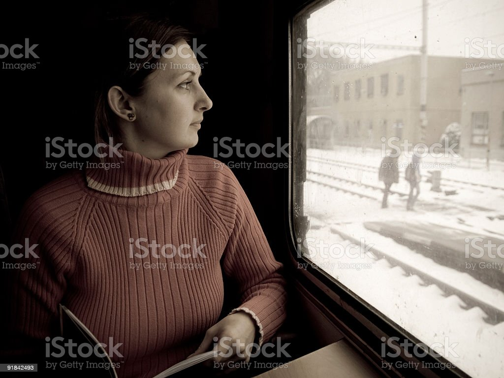Woman in train royalty-free stock photo