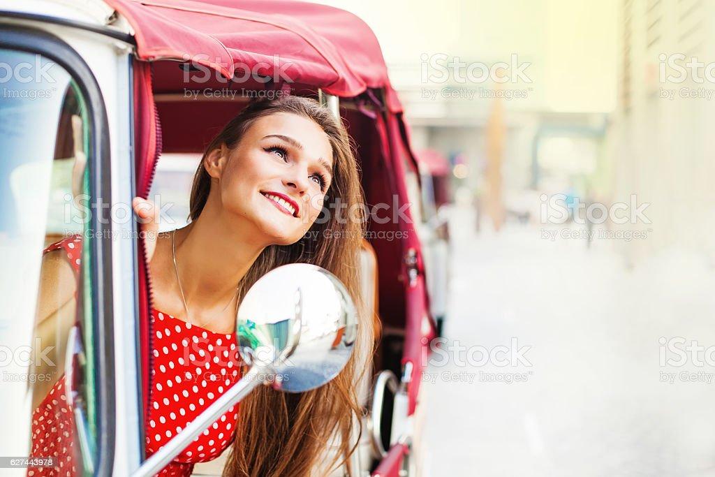 woman in tuk-tuk stock photo