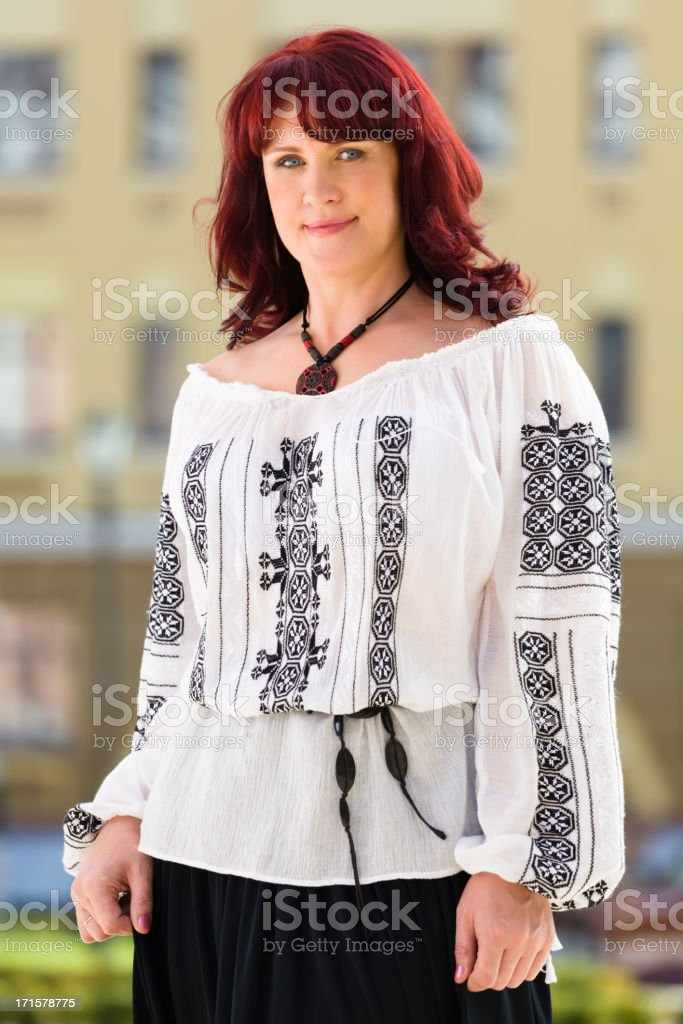 Woman in Ukrainian national costume royalty-free stock photo