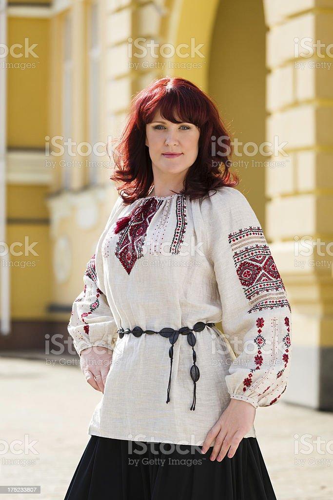 Woman in Ukrainian national costume royalty-free stock photo