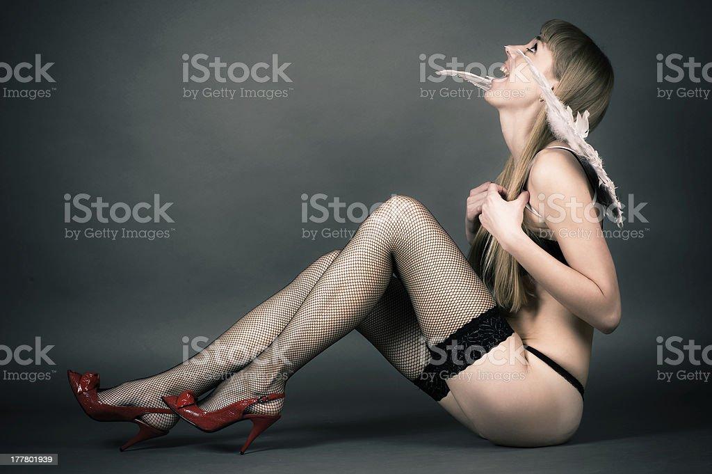 woman in underwear royalty-free stock photo