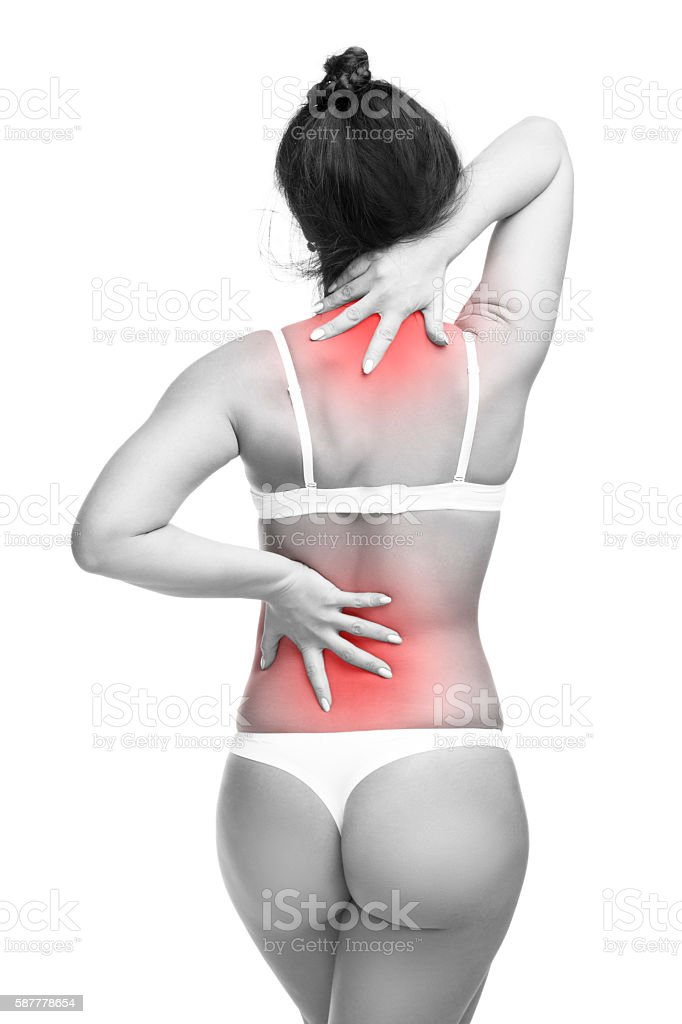 Woman in underwear with backache, neck pain  isolated on white stock photo