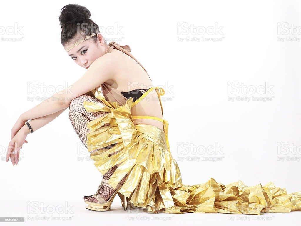 woman in various fun Yoga poses. stock photo