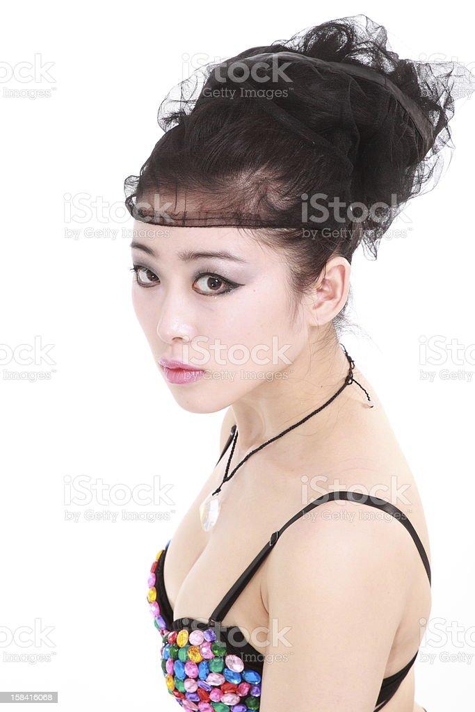 woman in various fun Yoga poses stock photo