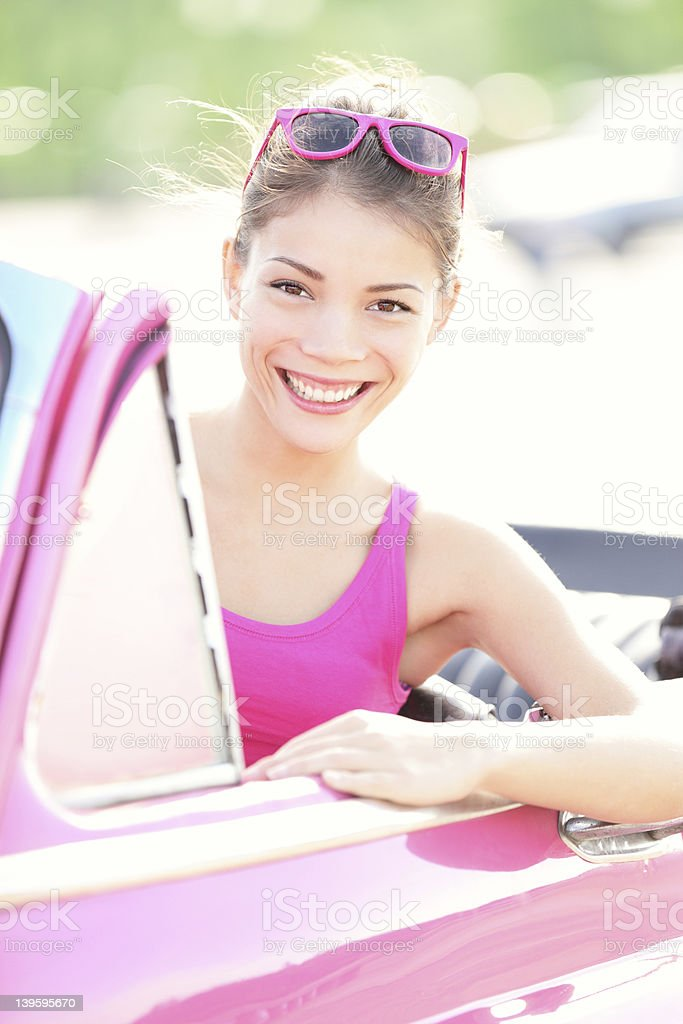 Woman in vintage car royalty-free stock photo