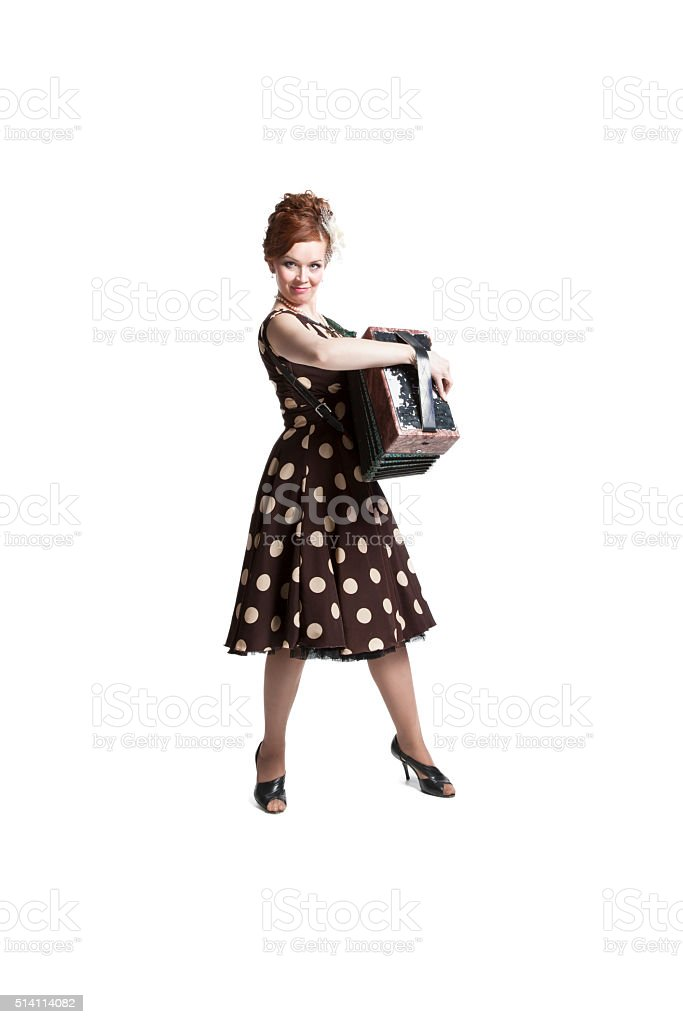 Woman in vintage dress stock photo