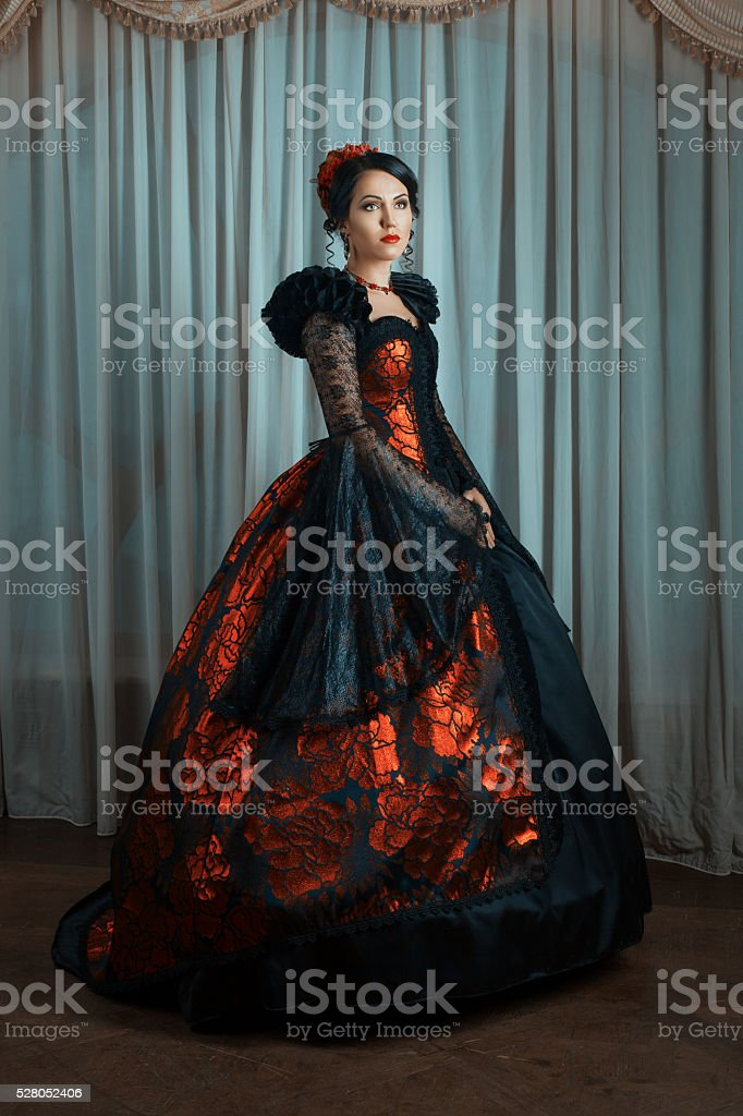 Woman in vintage style. stock photo