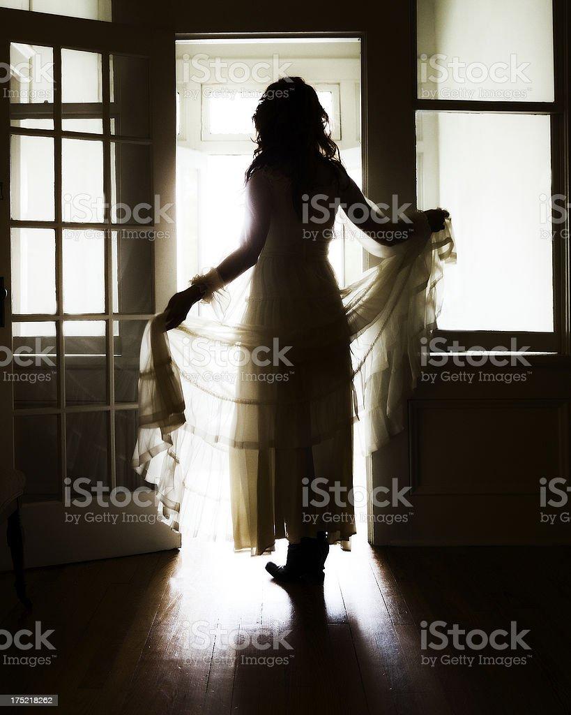Woman In Vintage Wedding Dress stock photo