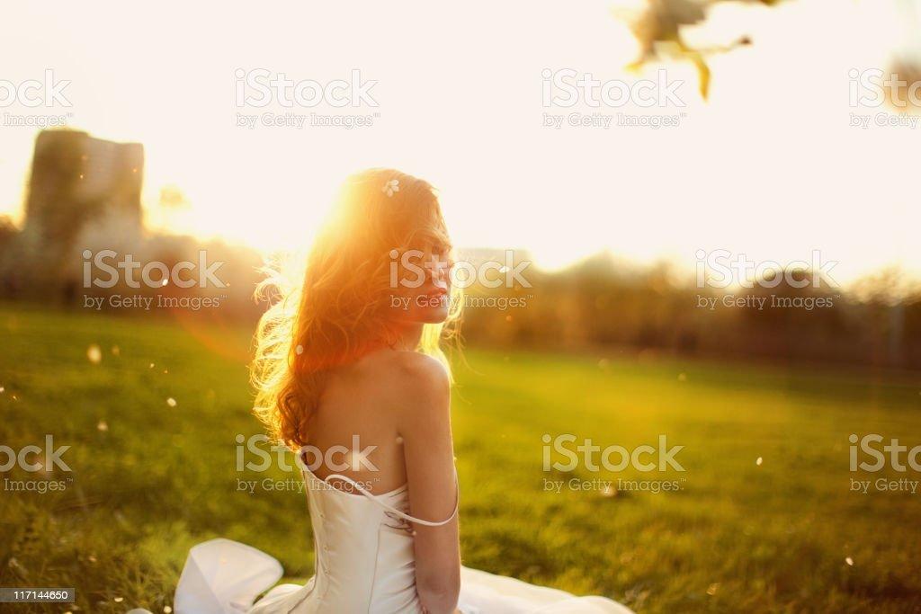 Woman in Wedding Dress royalty-free stock photo