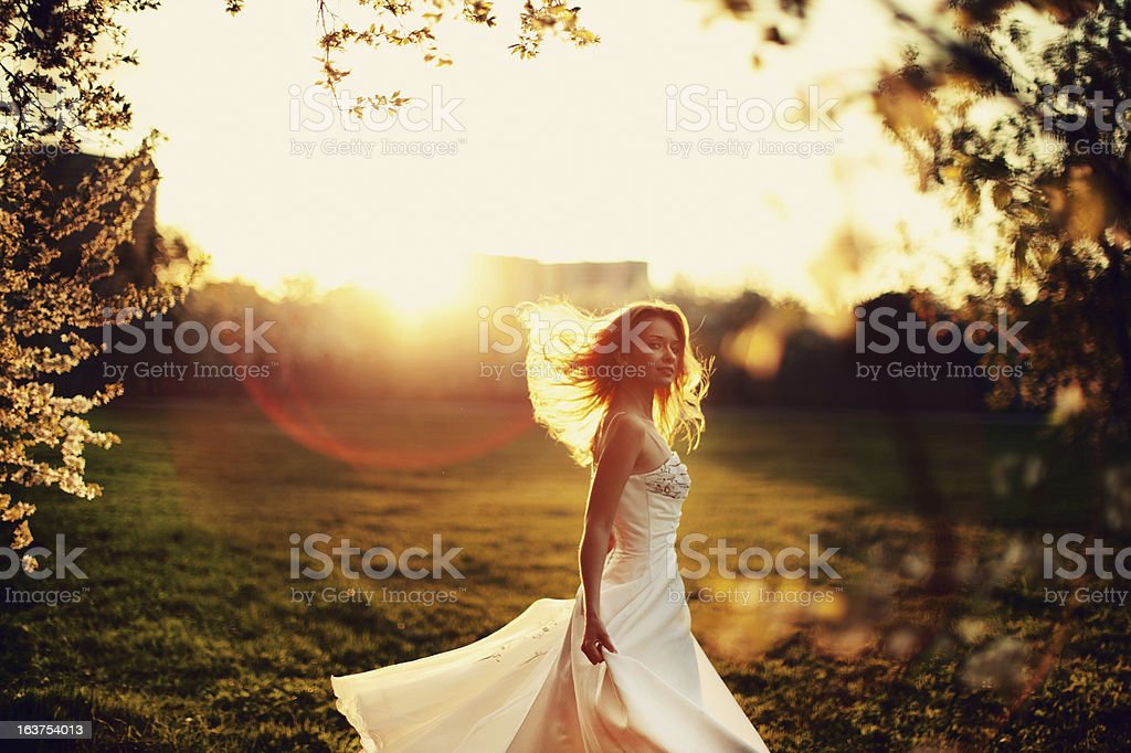 Woman in Wedding Dress royalty-free stock photo