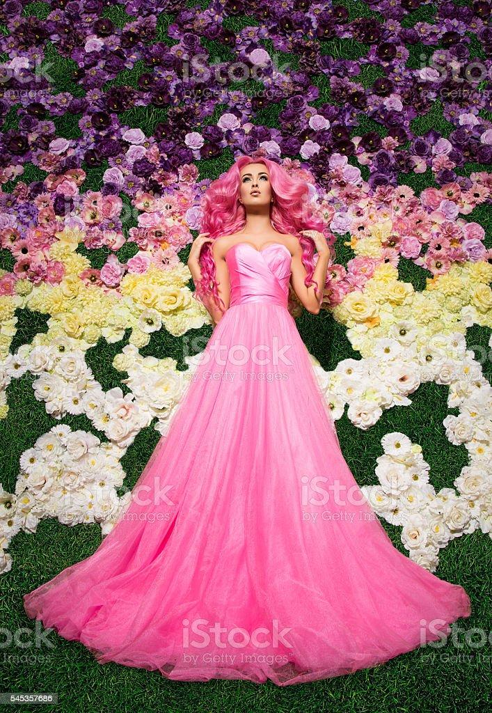 woman in wedding dress posing. Model like a doll, in stock photo