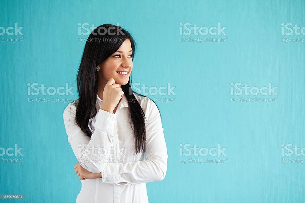Woman in white shirt stock photo