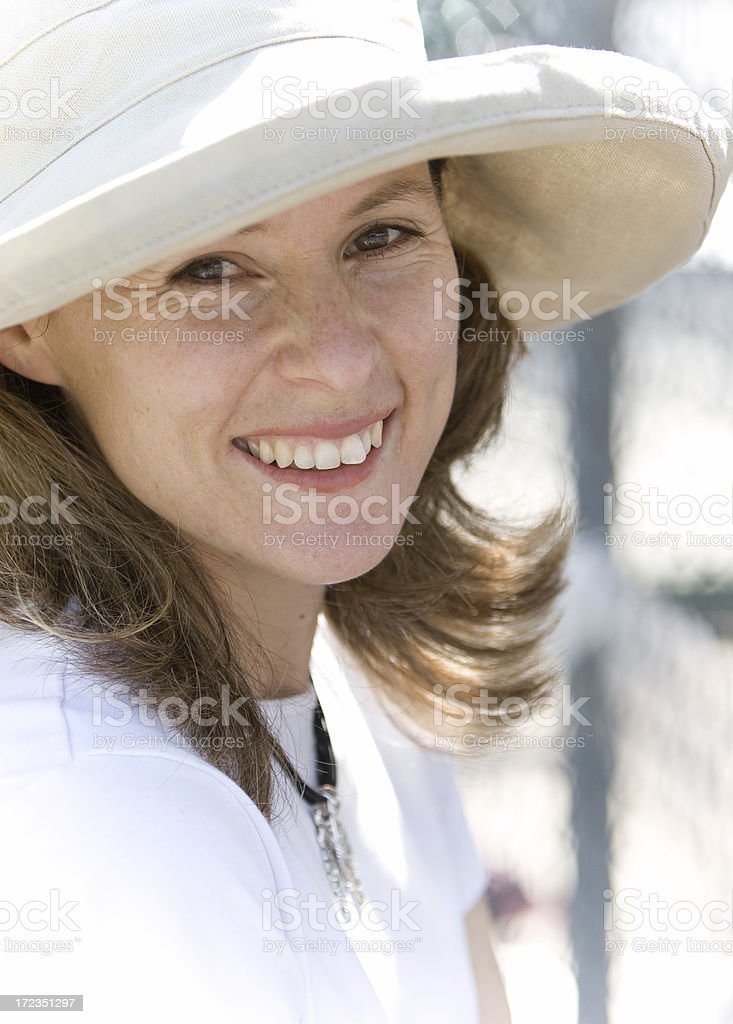 Woman in White Summer Hat royalty-free stock photo