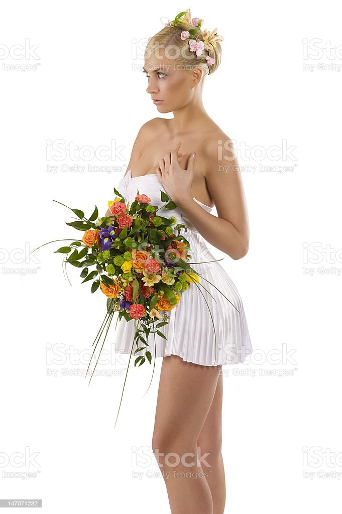 woman in white with flowers royalty-free stock photo