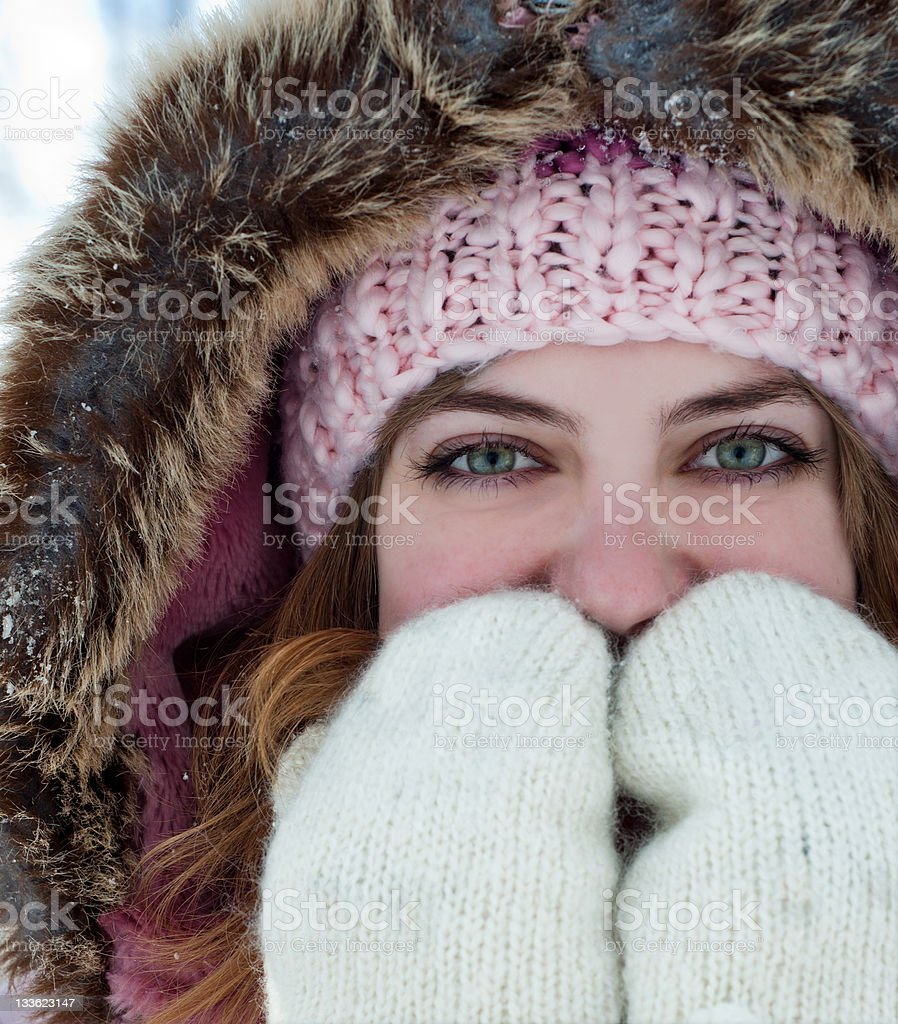 Woman in Winter Forest royalty-free stock photo