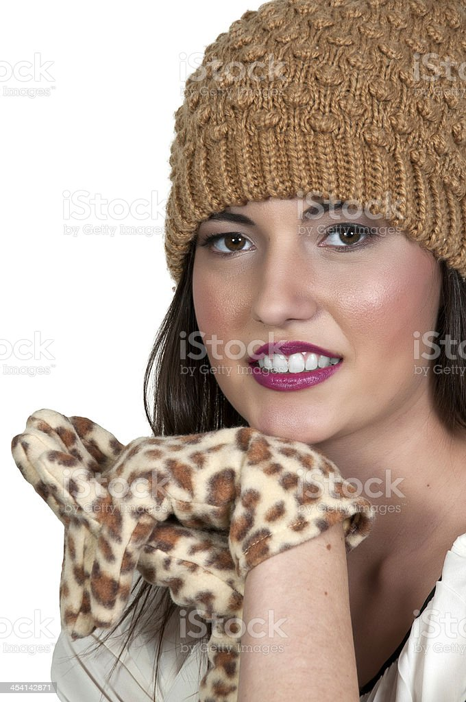 Woman in Winter Hat and Gloves royalty-free stock photo