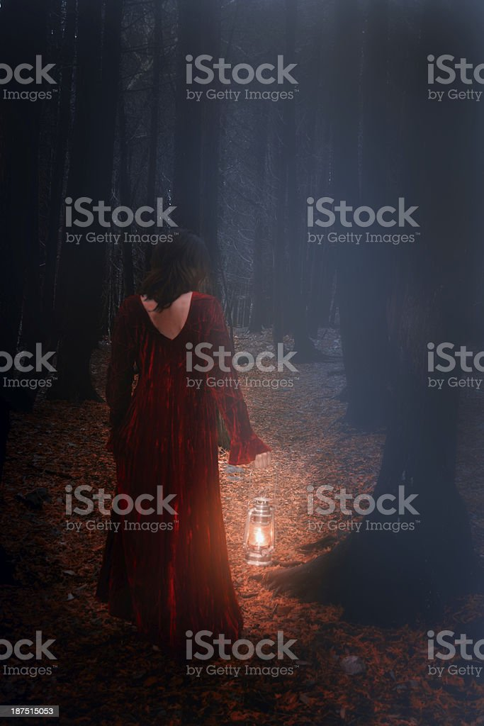 woman in woods stock photo