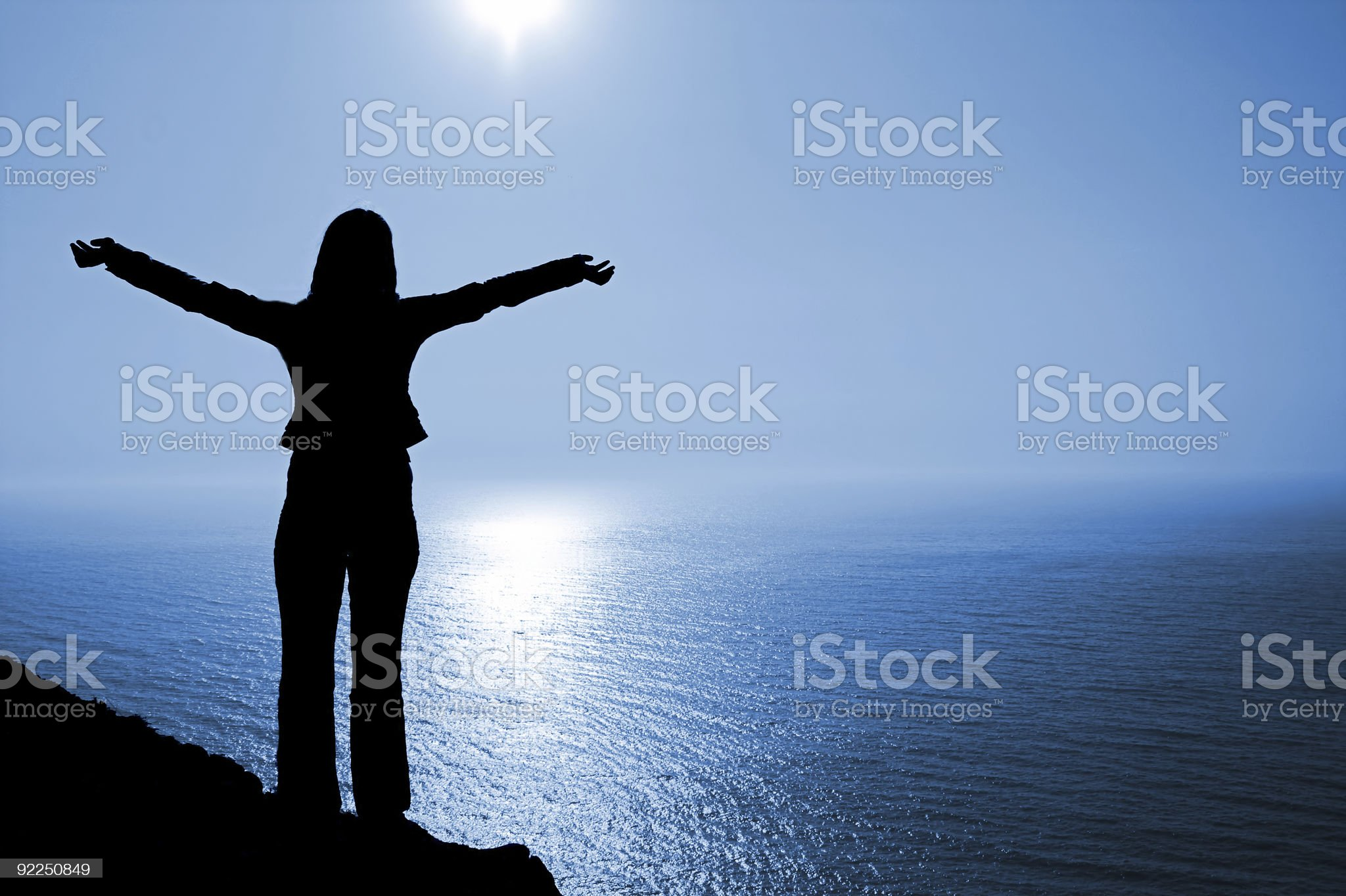Woman in worship position royalty-free stock photo