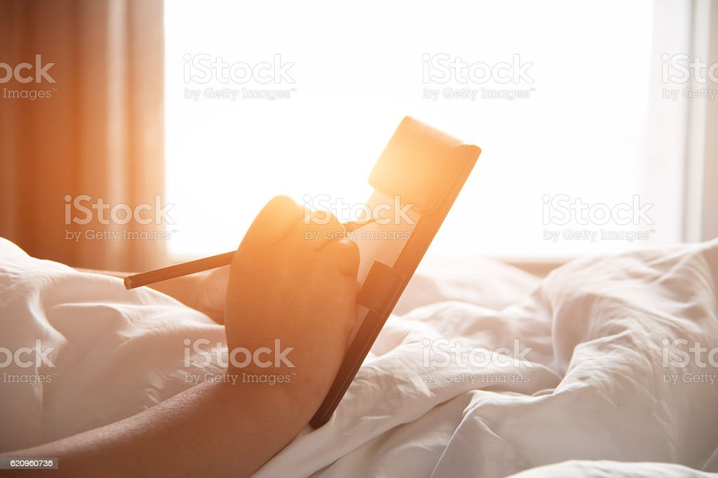 Woman in writing stock photo