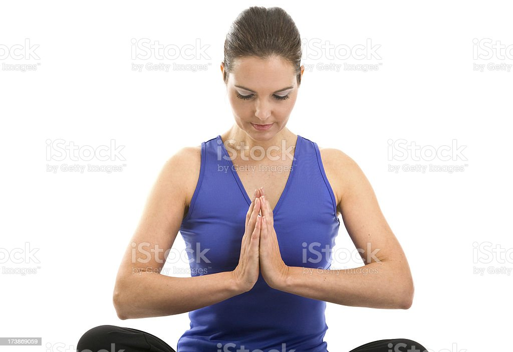 Woman in yoga posture stock photo