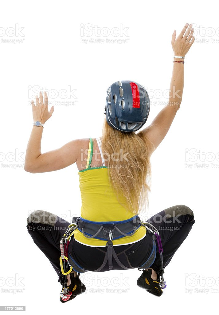 woman indoor free climbing royalty-free stock photo
