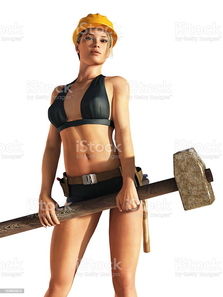 woman industrial worker holding sledgehammer stock photo