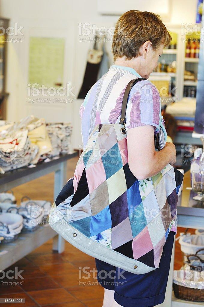 woman inside shop stock photo