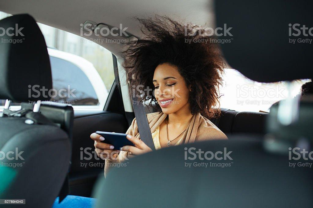 Woman inside the car stock photo