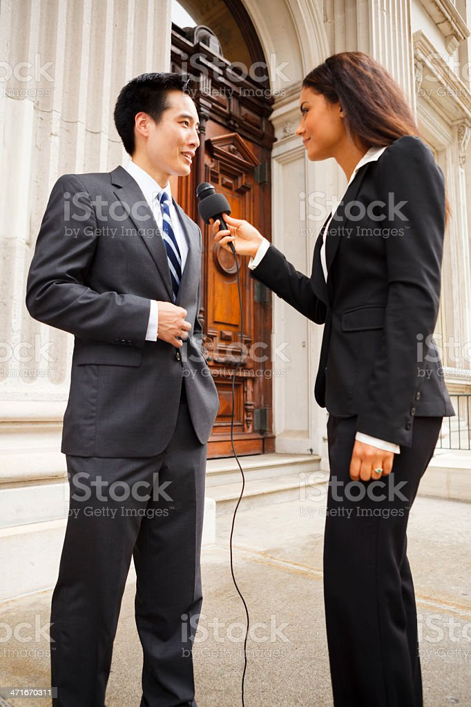 Woman Interviews Man royalty-free stock photo