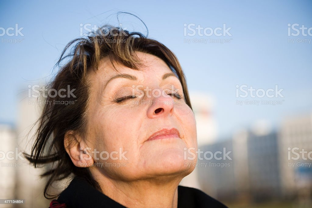 woman is deep breath stock photo