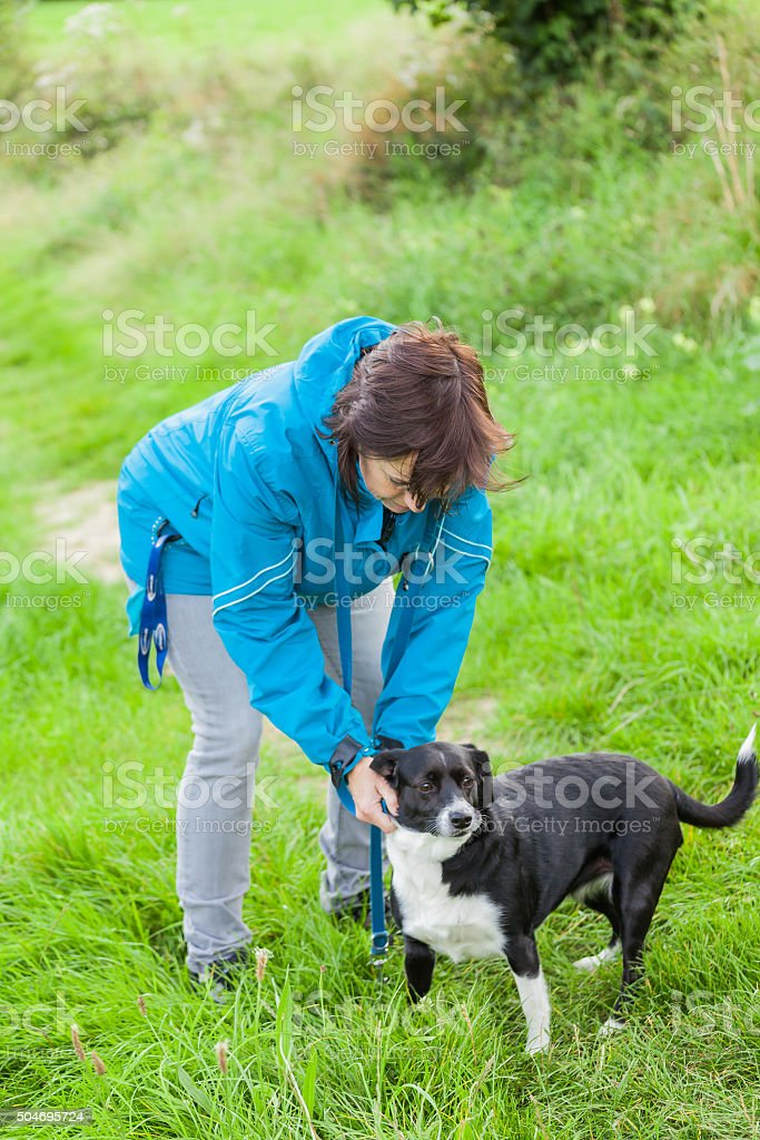 Woman is doing leash her dog stock photo