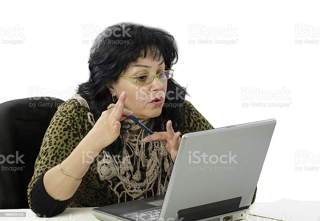 Woman is e learning teacher royalty-free stock photo