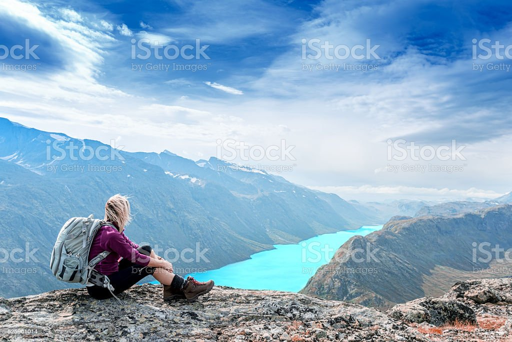 woman is feeling free and sitting stock photo