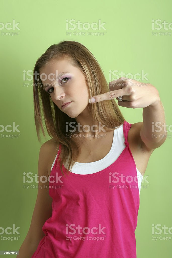 woman is giving the finger royalty-free stock photo