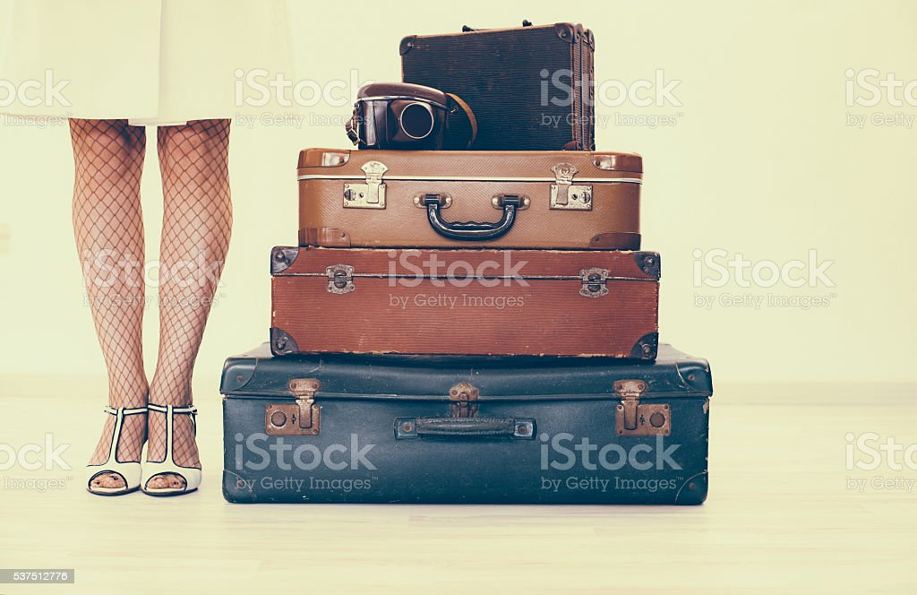 Woman is going on summer vacations stock photo