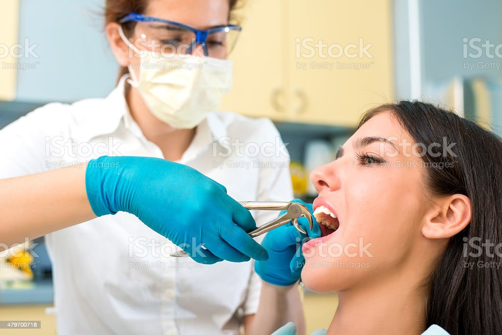 Woman is having her tooth pulled out. stock photo