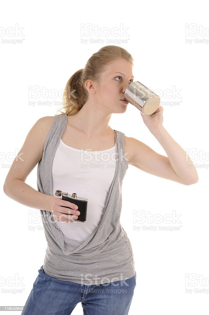 Woman is hot drink royalty-free stock photo