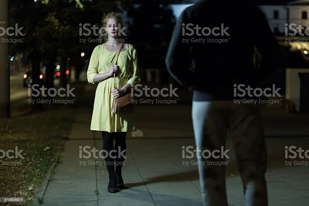 Woman is scared stock photo