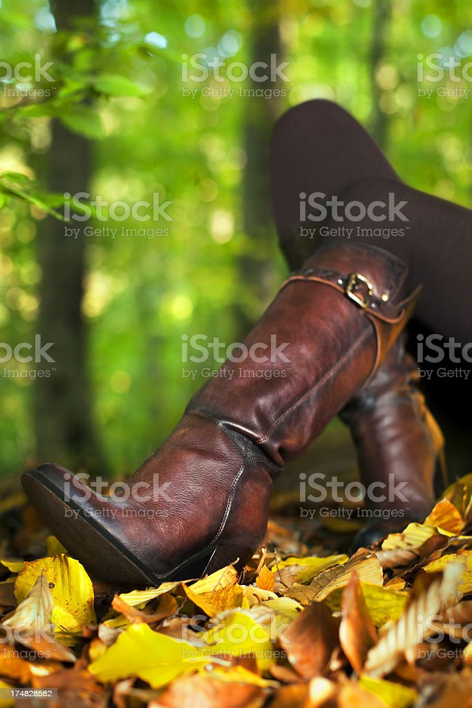 Woman is sitting on autumn's foliages royalty-free stock photo