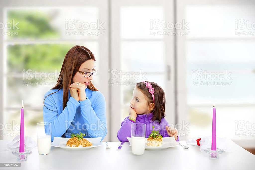 Woman is talking about Table Manners stock photo