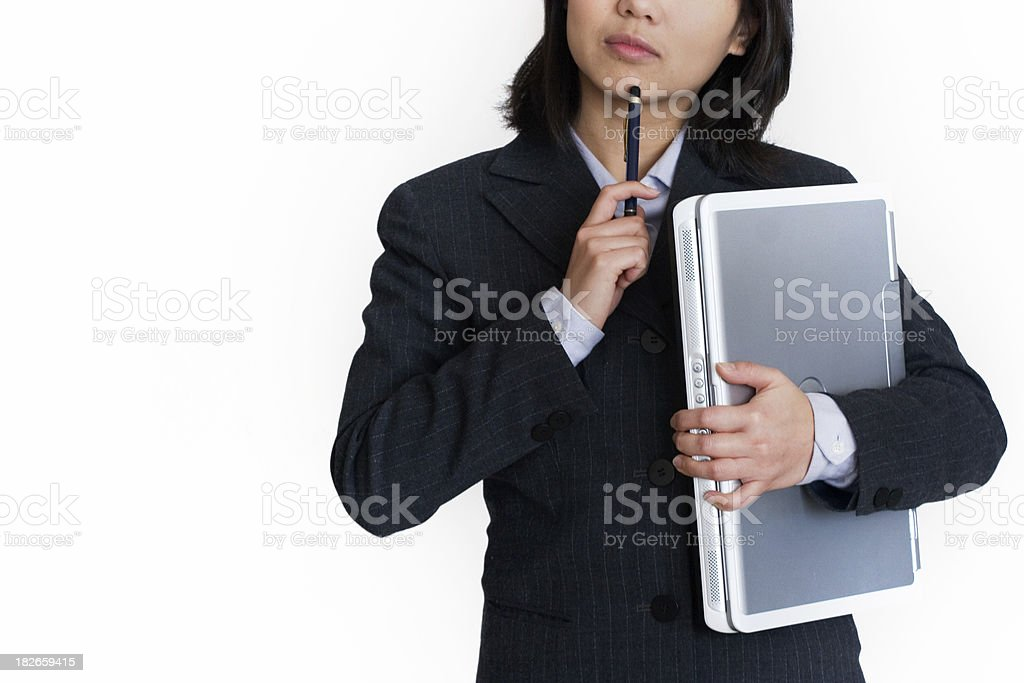 Woman is Thinking royalty-free stock photo