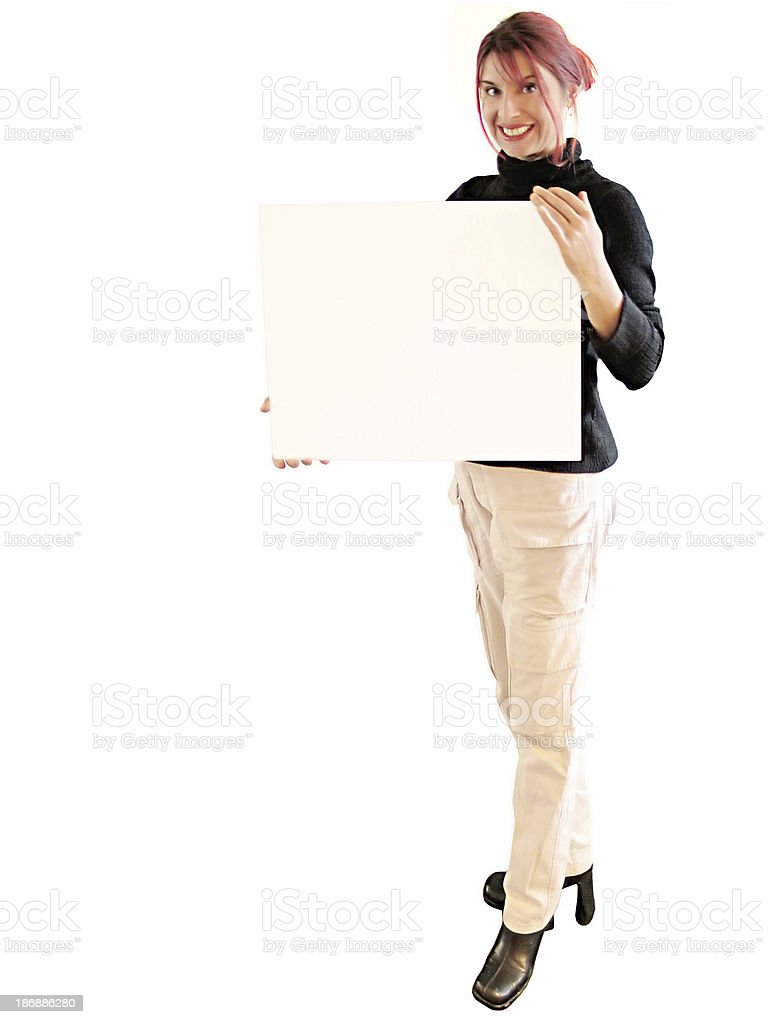 Woman isolated holding a white paper royalty-free stock photo