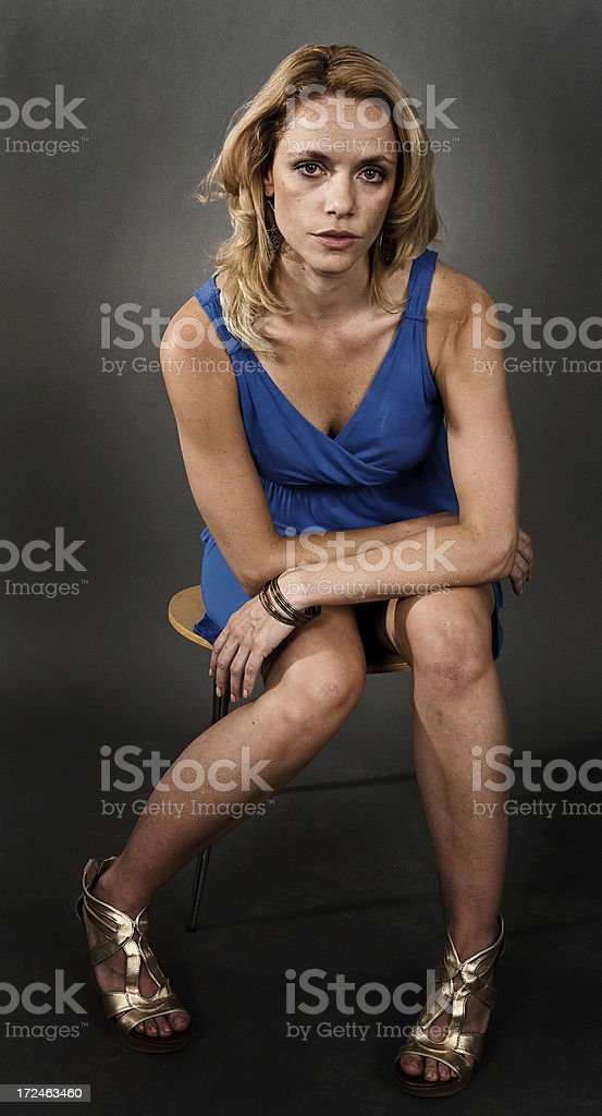 Woman Isolated on Grey royalty-free stock photo