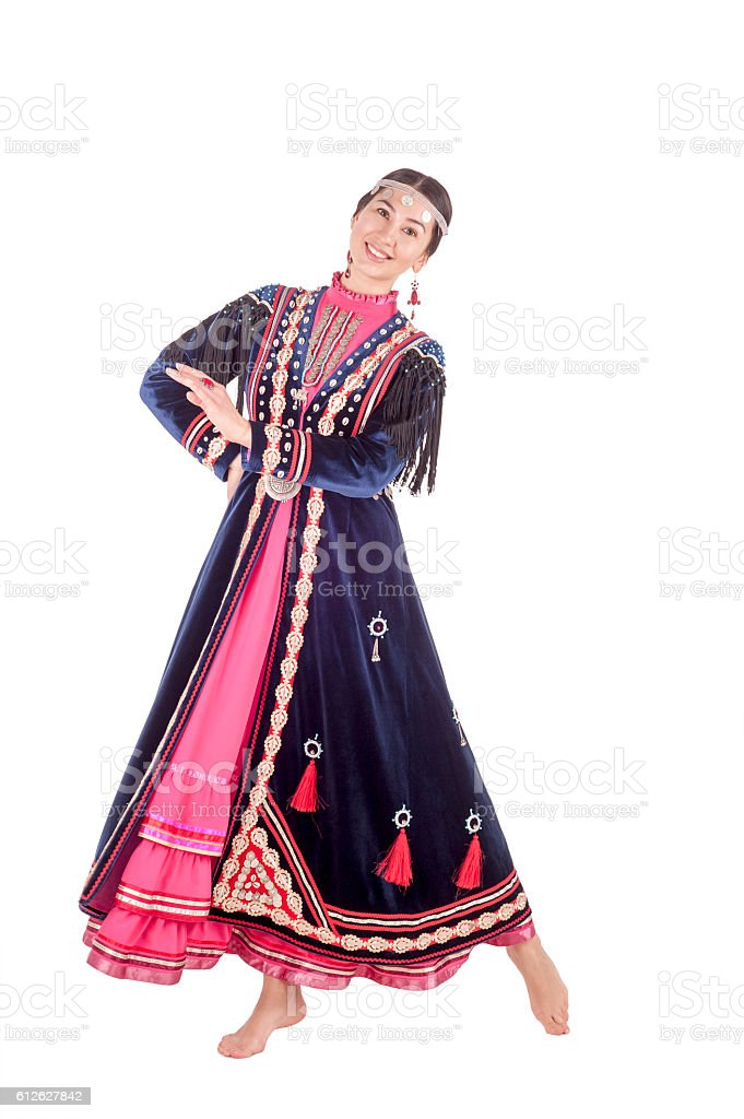 woman isolated on white background in traditional Muslim clothing Bashkirs stock photo