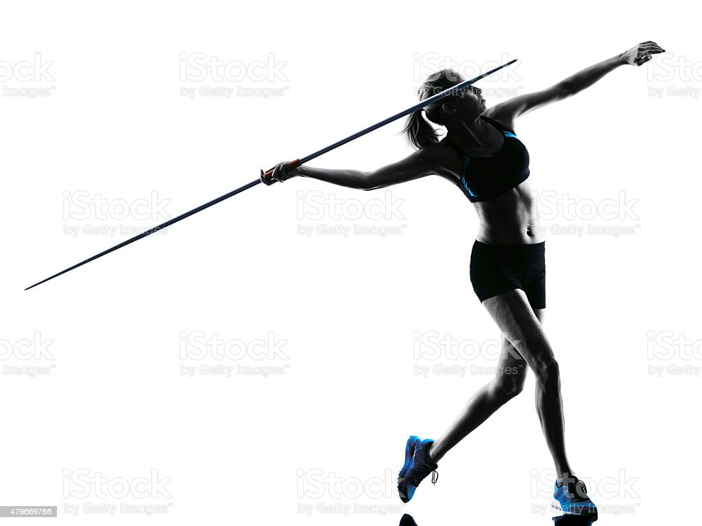 woman Javelin thrower silhouette stock photo