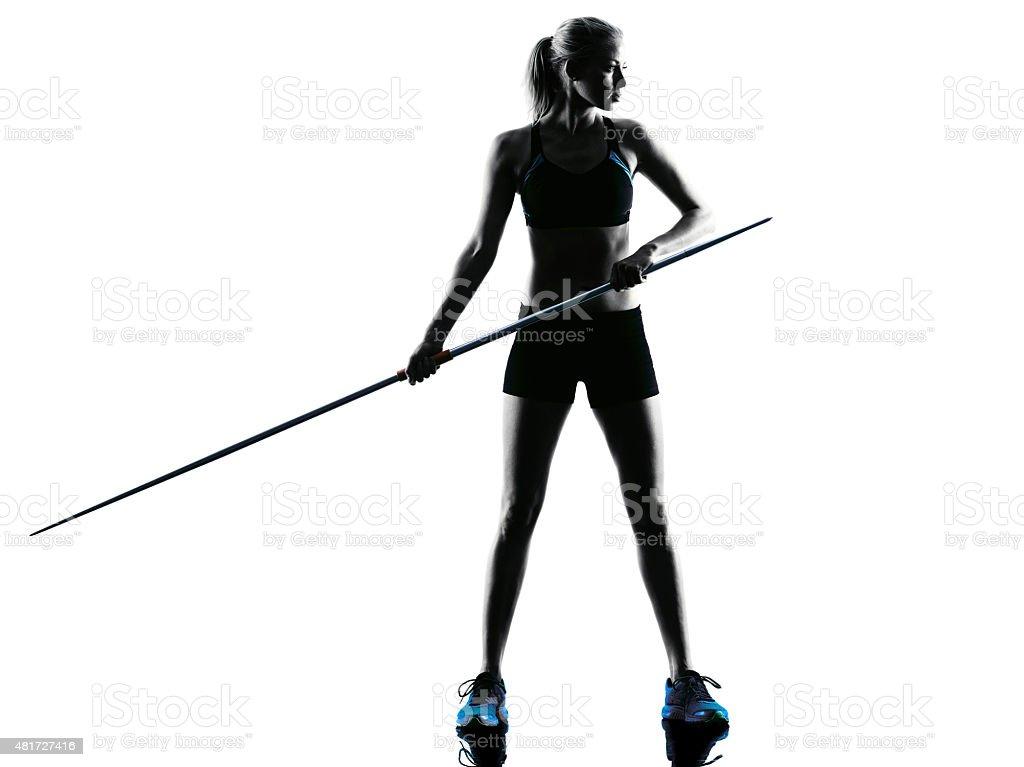 woman Javelin thrower silhouette stock photo
