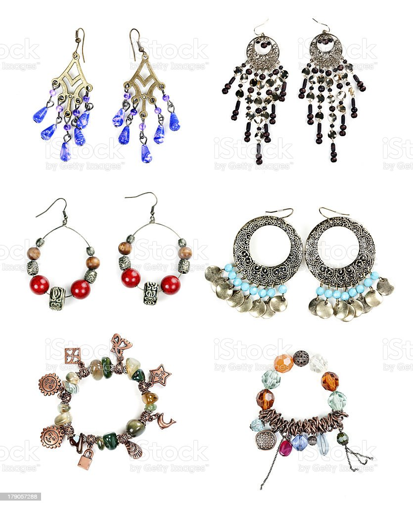 woman jewelry collection on white background royalty-free stock photo
