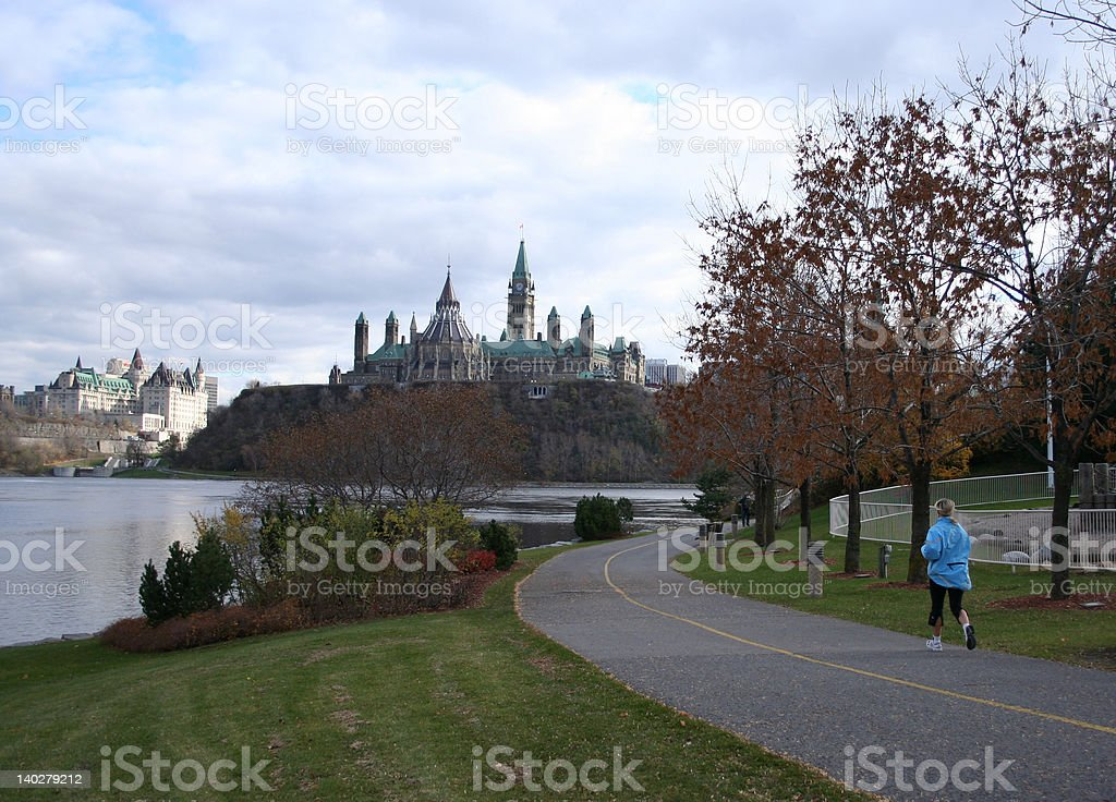 woman jogging in Ottawa royalty-free stock photo
