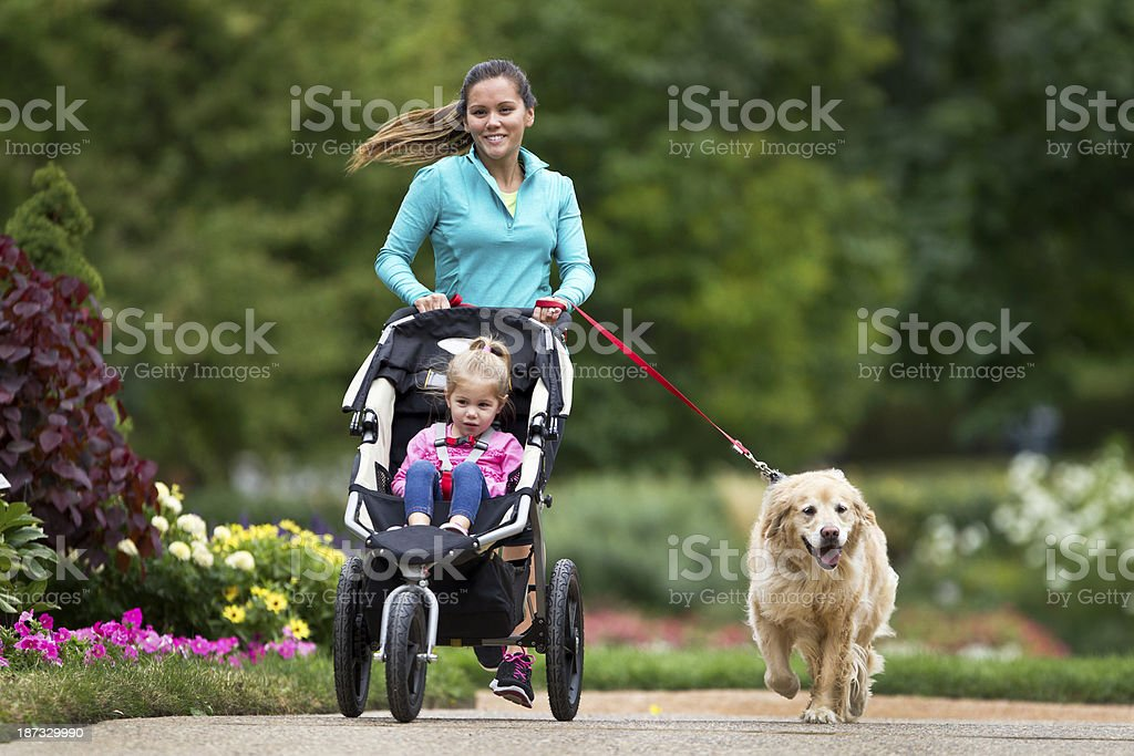 Woman jogging with her cute golden retriever and little girl stock photo